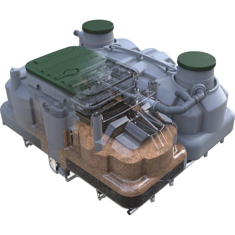 Pack assainissement non collectif ECOFLO 5 EH, sortie haute + pompe de  relevage
