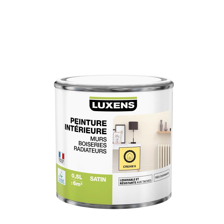 Peinture mur, boiserie, radiateur Multisupports LUXENS, cream 6, 0.5 l, satin