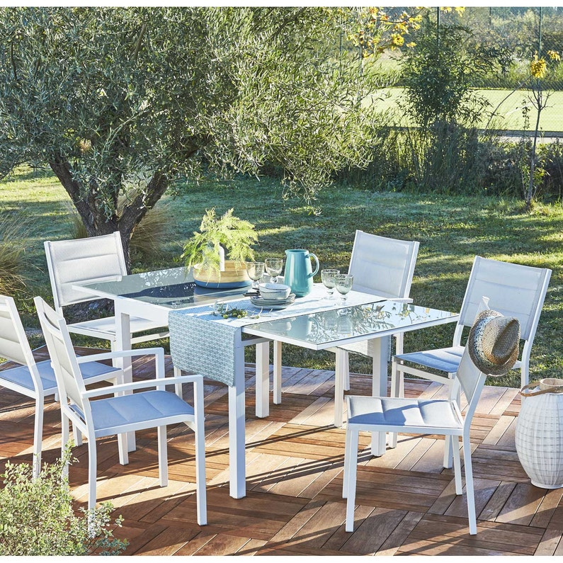 Table de jardin de repas NATERIAL Lisboa rectangulaire blanc 6 ...