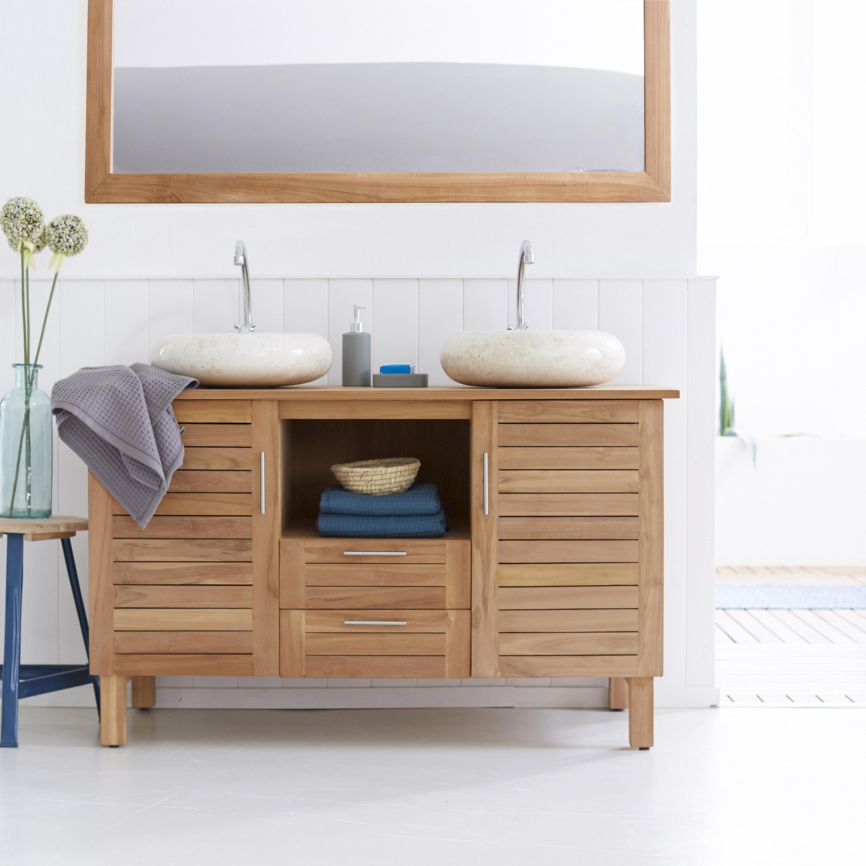 Meuble vasque bois, l.125 x H.75 x P.55 cm, TIKAMOON Soho