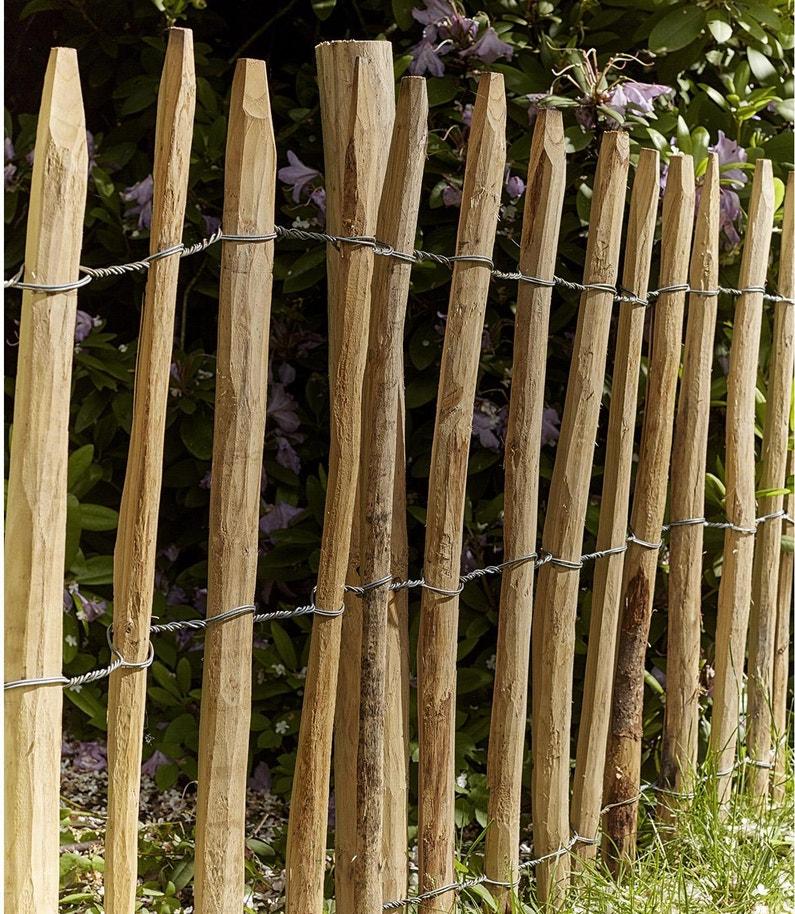Clôture bois bois naturel, H.150 x l.5 cm