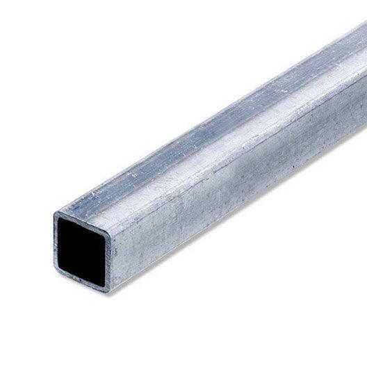 Tube carré acier brut, L.1 m x l.1.6 cm x H.1.6 cm