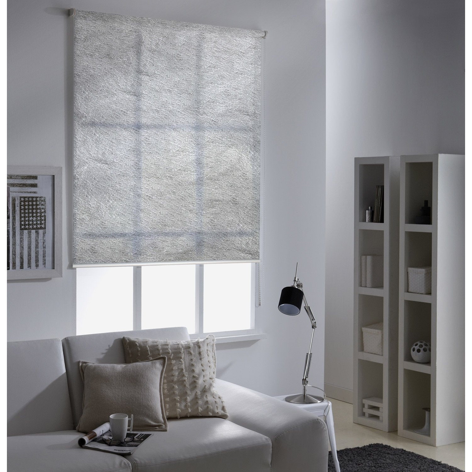 store enrouleur tamisant frost gris argent 125x190 cm leroy merlin. Black Bedroom Furniture Sets. Home Design Ideas