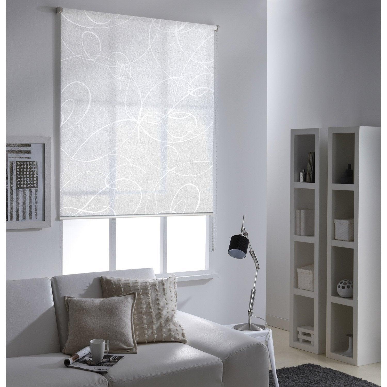 Store enrouleur tamisant Frost imprimé, blanc, 155x190 cm | Leroy Merlin