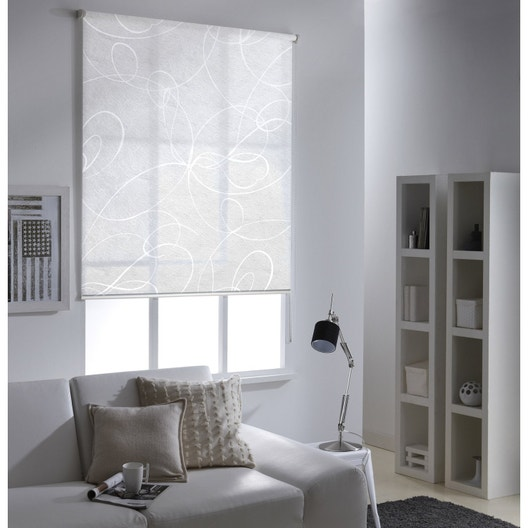 store enrouleur tamisant frost imprim blanc 155x190 cm leroy merlin. Black Bedroom Furniture Sets. Home Design Ideas