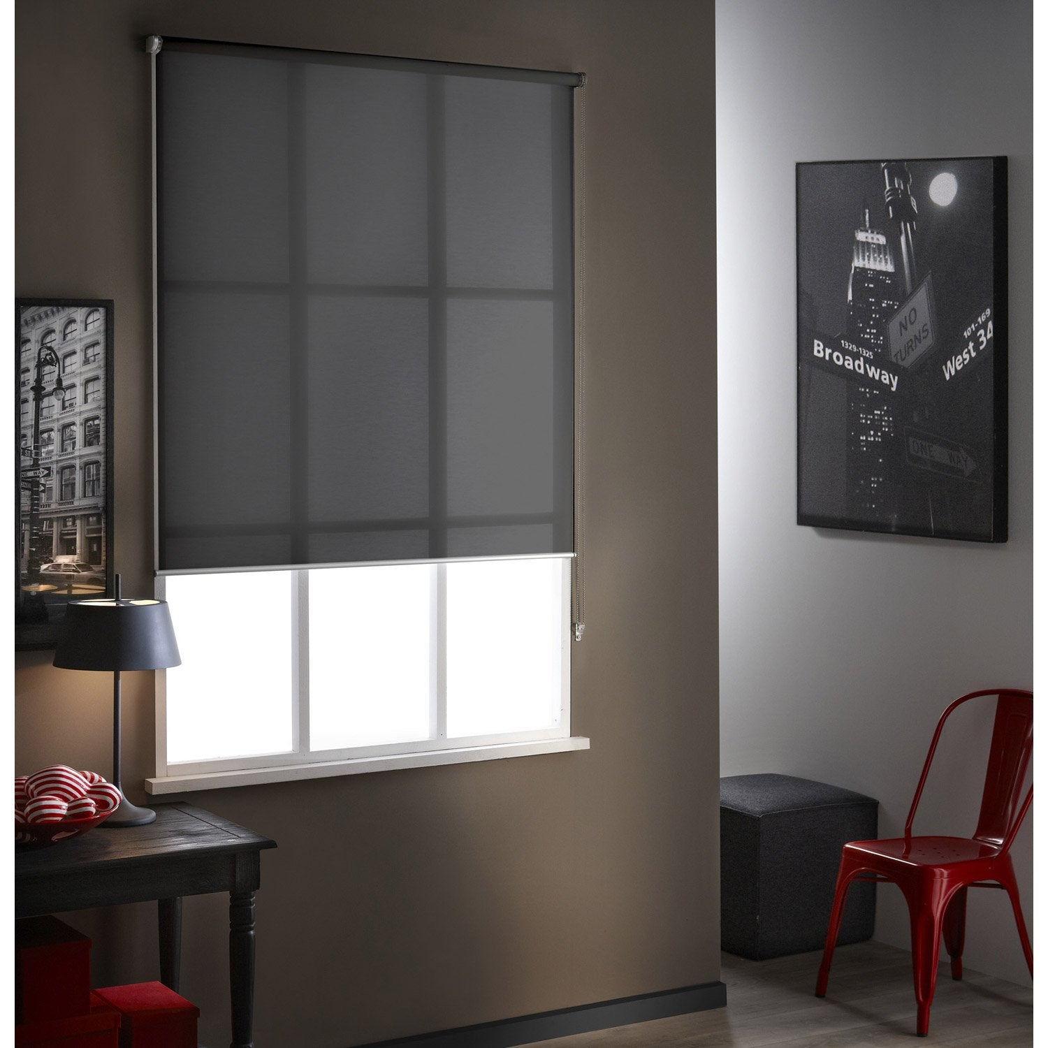 store enrouleur tamisant screen anthracite 155x190 cm leroy merlin. Black Bedroom Furniture Sets. Home Design Ideas