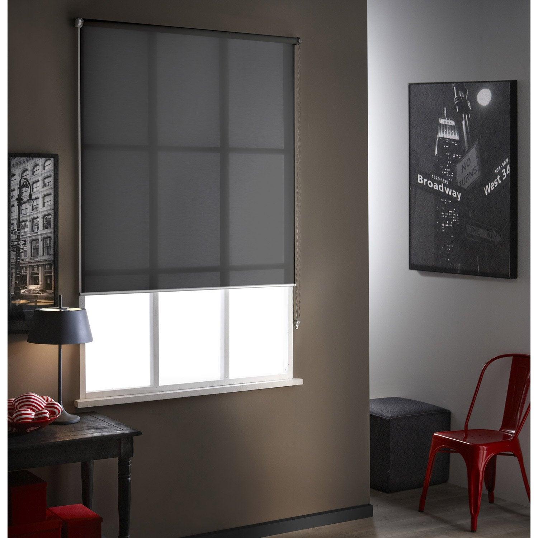 store enrouleur tamisant screen anthracite 155x190 cm leroy merlin. Black Bedroom Furniture Sets. Home Design Ideas