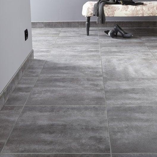 Carrelage sol et mur gris zingué 1 effet béton Camden l.45 x L.45 cm ...