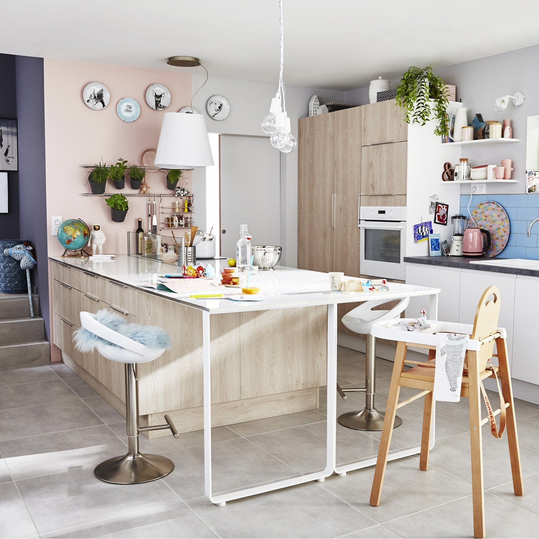 Meuble de cuisine d cor bois delinia nordik leroy merlin for Meuble en bois cuisine