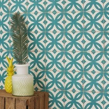 Papier peint intissé Mosaïque fond crème et motif vert