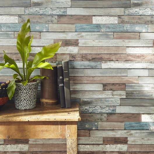 papier peint papier bois recup bleu bleu leroy merlin. Black Bedroom Furniture Sets. Home Design Ideas