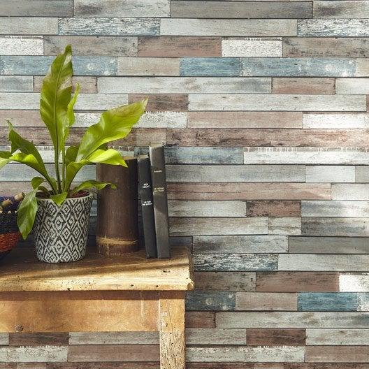 papier peint papier bois recup bleu bleu et marron leroy merlin. Black Bedroom Furniture Sets. Home Design Ideas