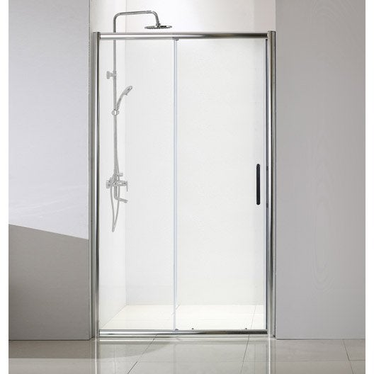 Porte de douche coulissante 140 cm transparent quad for Porte coulissante 140 cm