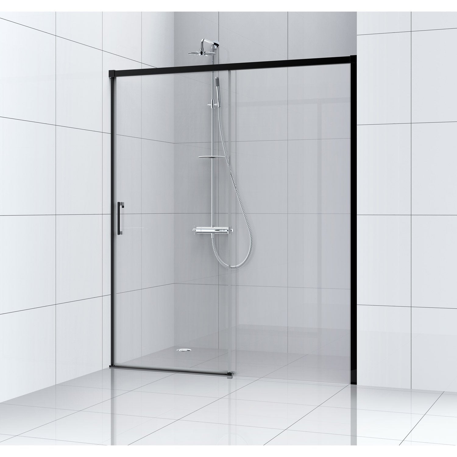 Porte de douche coulissante l 100 cm verre transparent for Porte douche coulissante 80 cm