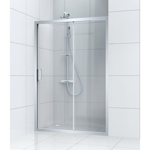 Porte de douche coulissante 140 cm transparent charm for Porte coulissante salon 140 cm