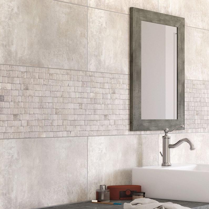 Carrelage mur et sol béton blanc mat l.30.8 x L.61.5 cm, Blend
