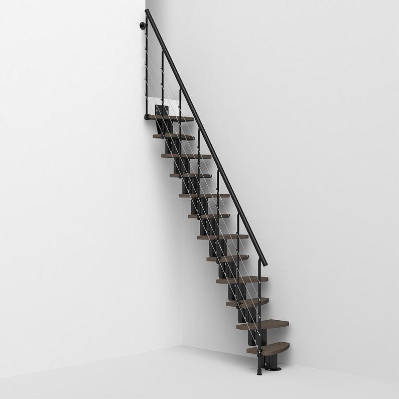 Escalier Droit Zen 2 Structure Acier Marche Bois Lamelle Colle