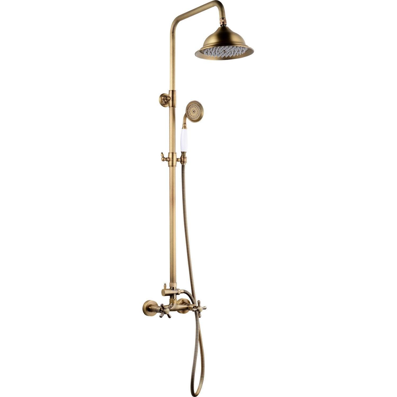 Colonne de douche avec robinetterie, ROUSSEAU Retro mélangeur vieux bronze