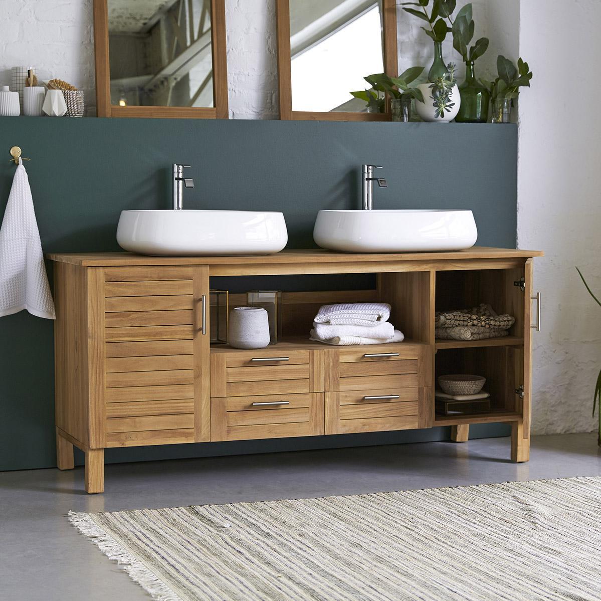 Meuble de salle de bains l.165 x H.75 x P.55 cm, teck, Soho