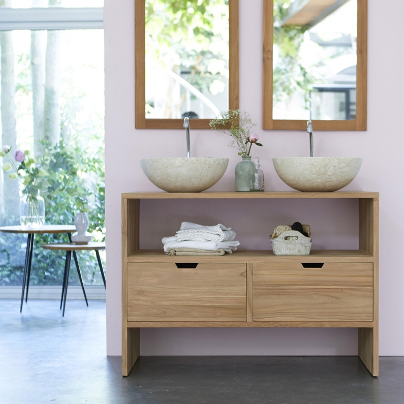 Meuble double vasque l.110 x H.78 x P.50 cm, teck naturel, Kwarto
