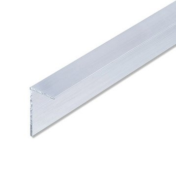 Cornière inégale aluminium brut, L.2.5 m x l.3.55 cm x H.3.55 cm