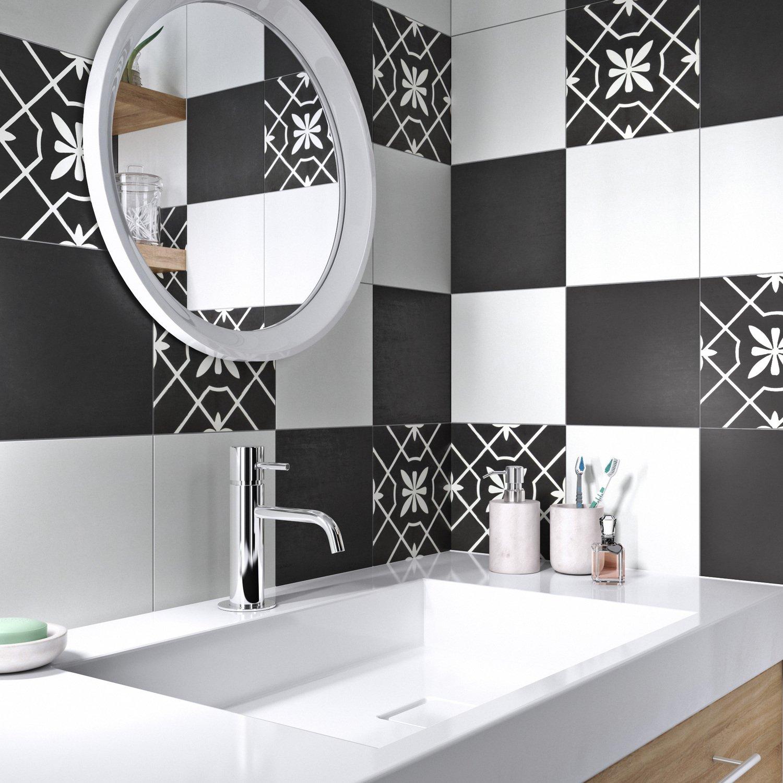Photo De Salle De Bain Noir Et Blanc damier de carreaux de ciment en noir et blanc | leroy merlin