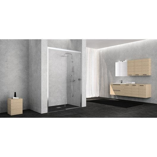 porte de douche coulissante 120 cm transparent neo leroy merlin. Black Bedroom Furniture Sets. Home Design Ideas
