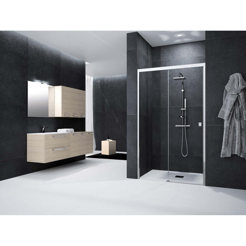 Porte de douche coulissante 125 cm transparent neo - Leroy merlin porte de douche coulissante ...