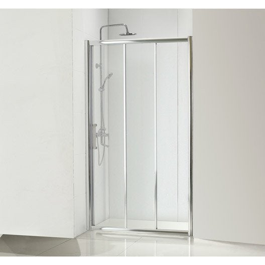 Porte de douche coulissante 90 cm transparent quad for Porte coulissante miroir largeur 90