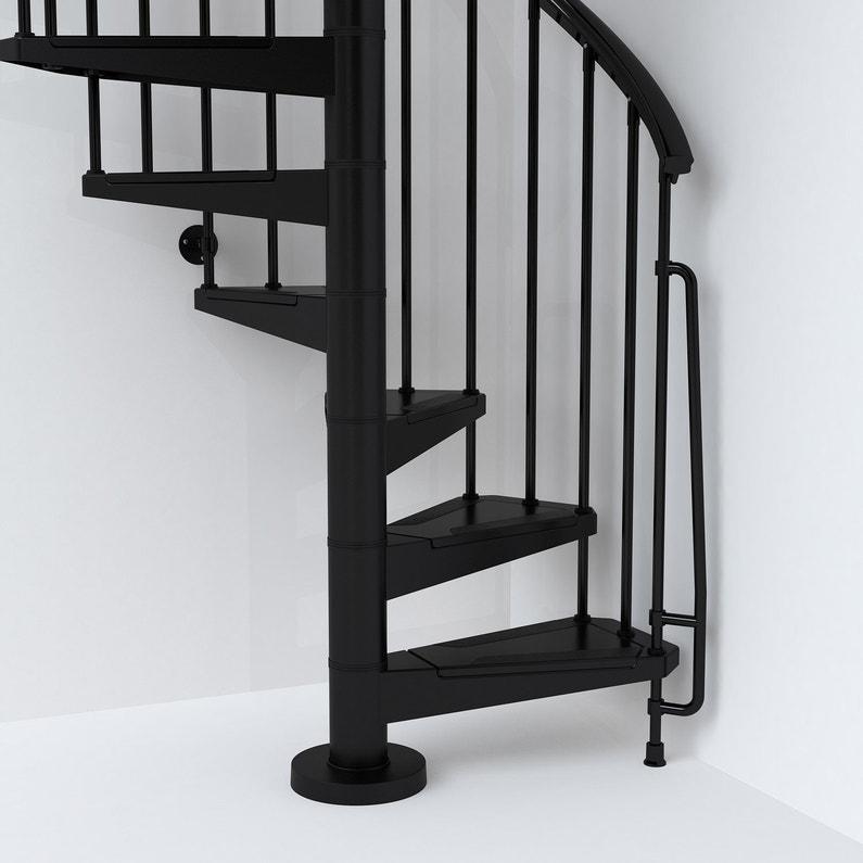 Escalier colimaçon rond réversible acier noir Steel 13 marches acier, ?140  cm