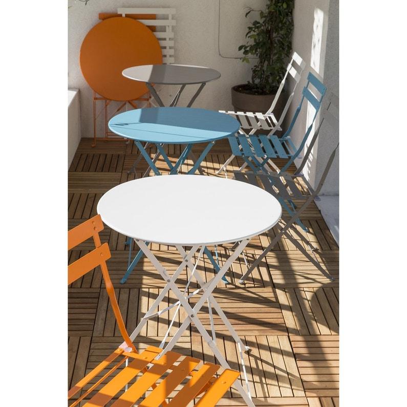 Table de jardin NATERIAL Flore ronde blanc 4 personnes   Leroy Merlin