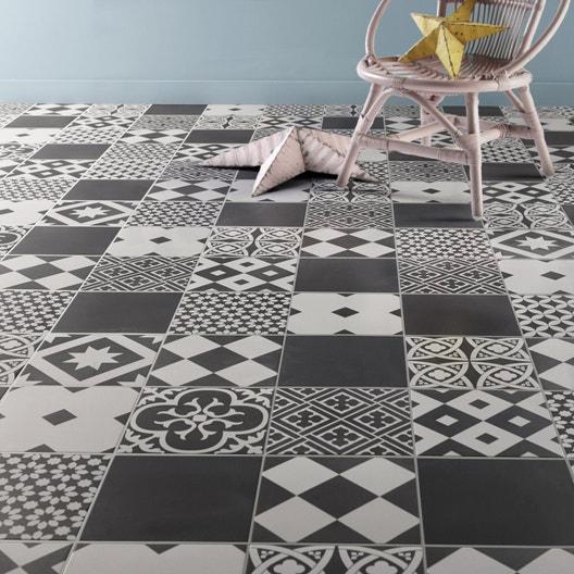 Carrelage sol et mur forte effet carreau de ciment noir et blanc Gatsby  l.20 x L