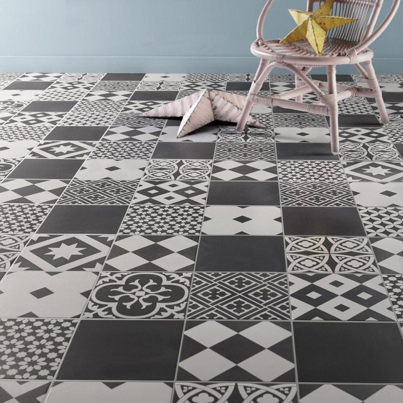 Carrelage Sol Mur Forte Effet Carreau De Ciment Noir Blanc Gatsby L 20xl 20 Cm