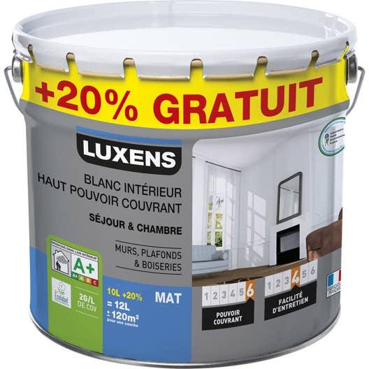 peinture blanche mur plafond et boiserie haut pouvoir couvrant luxens mat 12 l leroy merlin. Black Bedroom Furniture Sets. Home Design Ideas