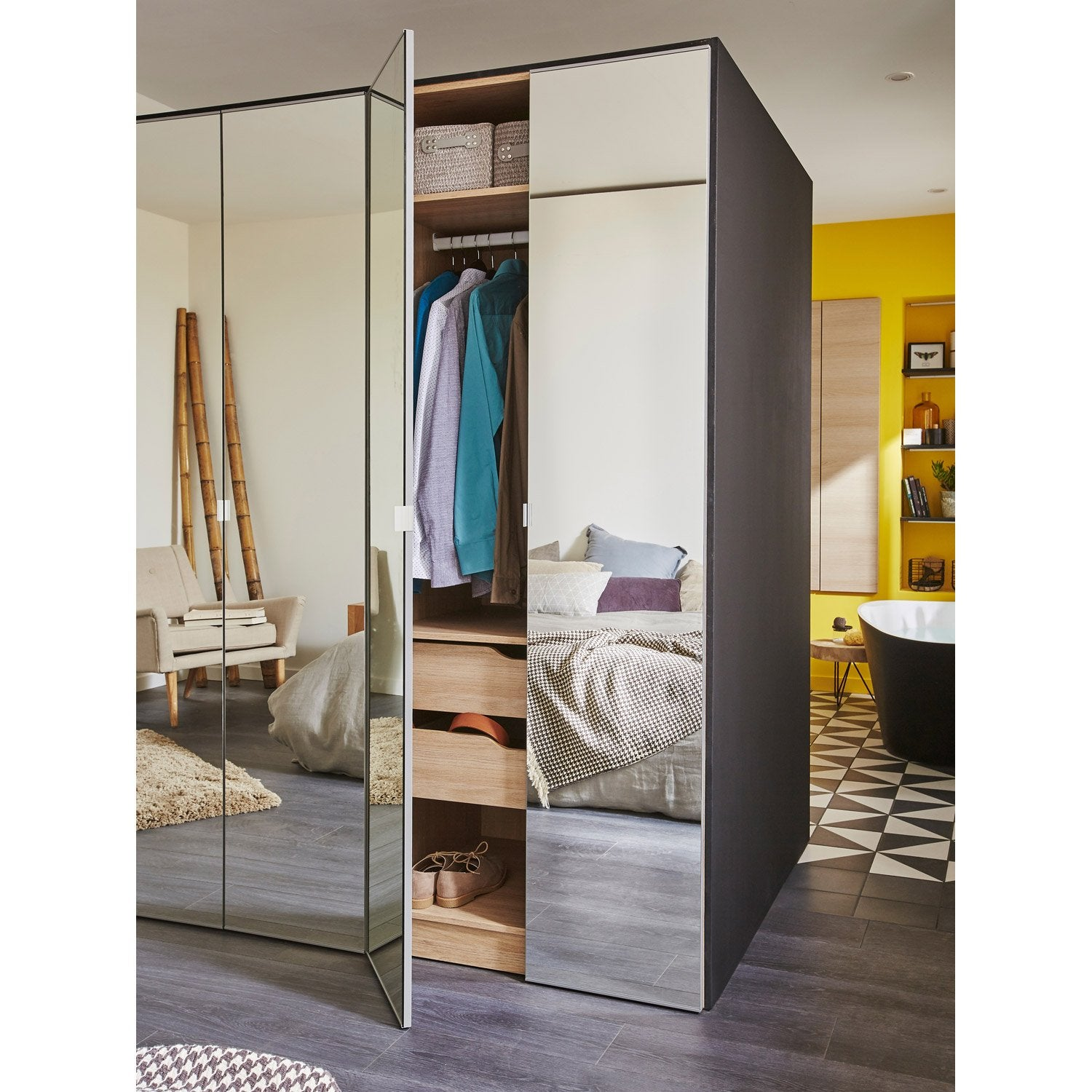 porte battante spaceo home 200 x 40 x 1 6 cm miroir leroy merlin. Black Bedroom Furniture Sets. Home Design Ideas