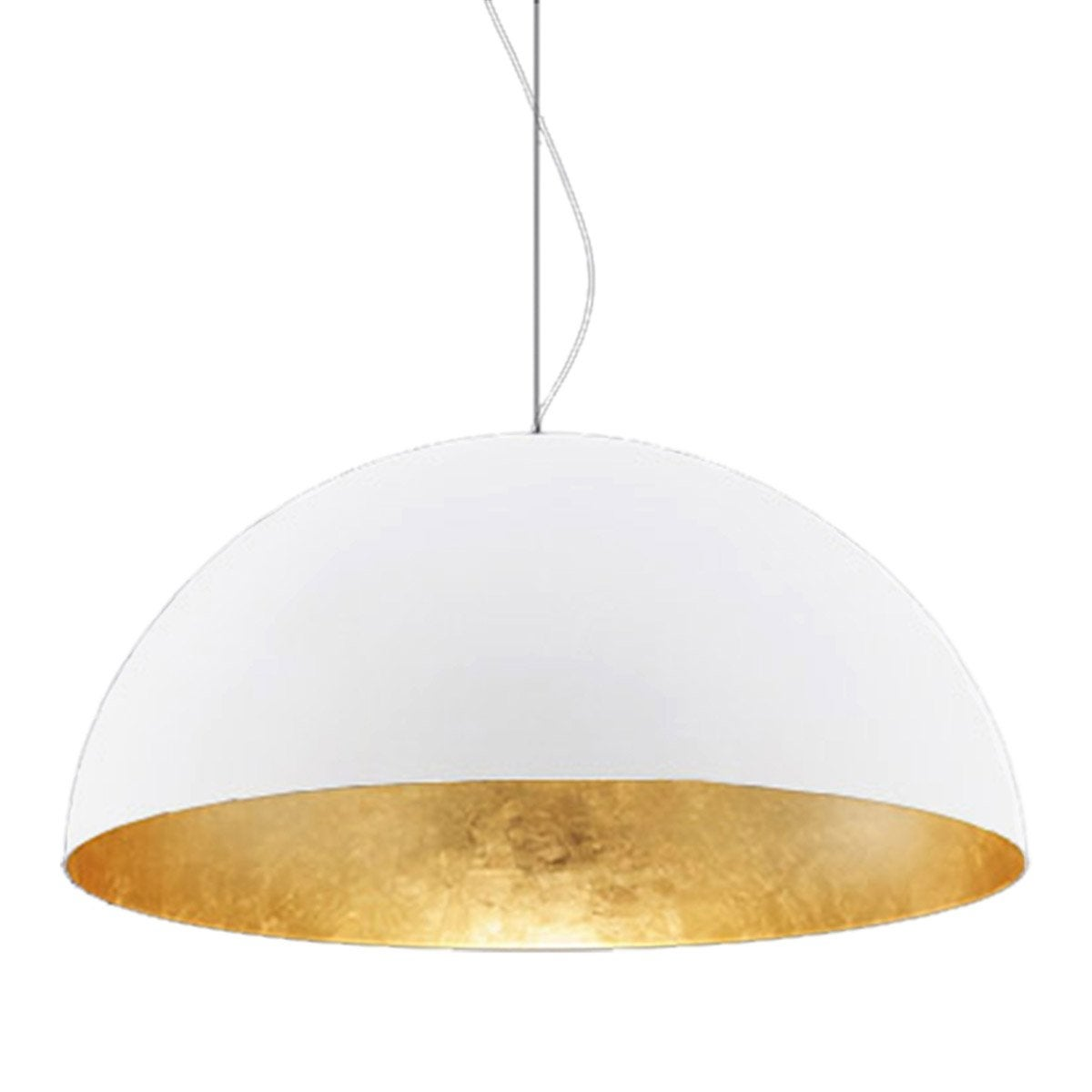 Suspension, e27 design Venice métal blanc/feuille d'or 1 x 60W W