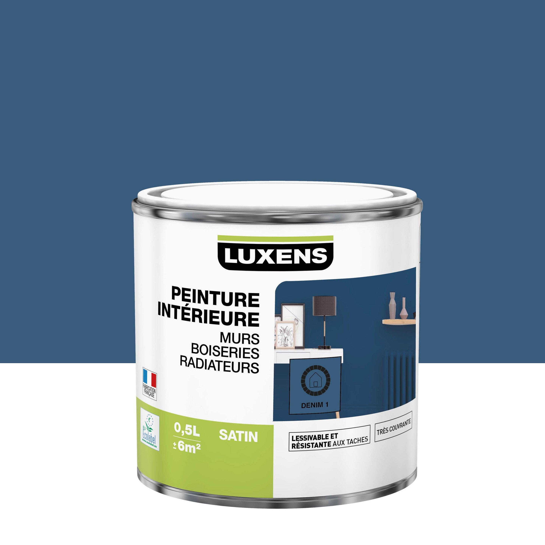 Peinture, mur, boiserie, radiateur, Multisupports LUXENS, denim 1, satiné, 0.5 l