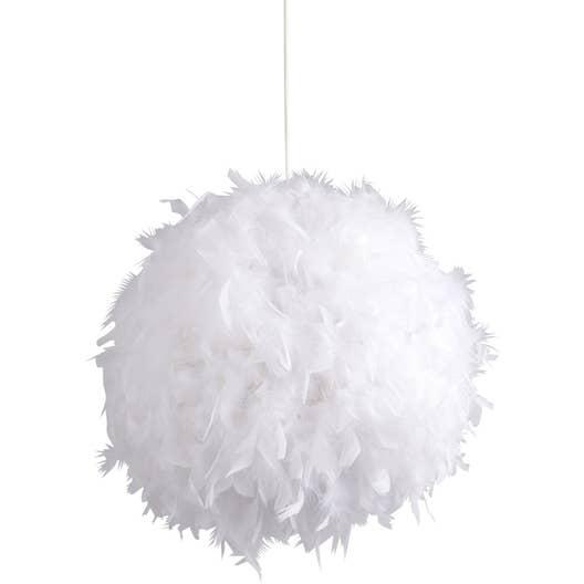 suspension e14 romantique charme mini kokot plumes blanc 1 x 11 w corep leroy merlin. Black Bedroom Furniture Sets. Home Design Ideas