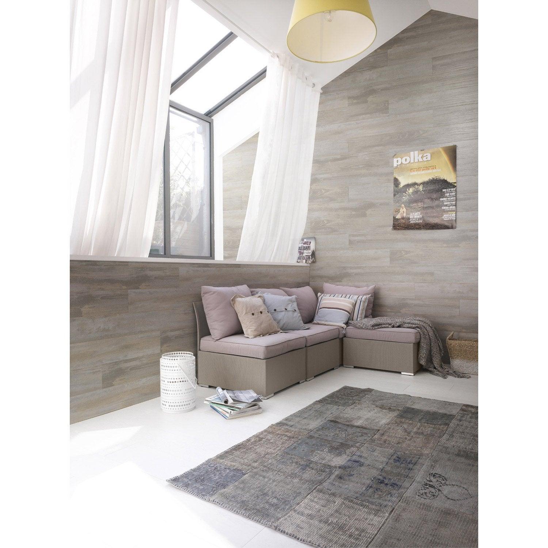 lambris pvc bois datcha gris grosfillex x cm x ep 6 mm leroy merlin. Black Bedroom Furniture Sets. Home Design Ideas