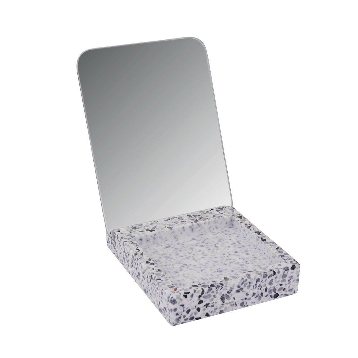 Miroir résine Terrazo, bleu