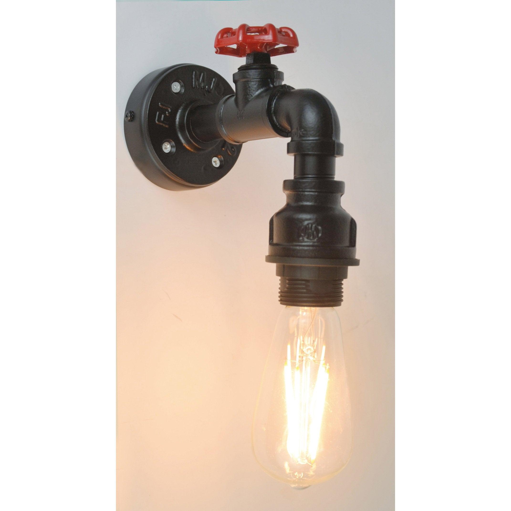 Applique, industriel métal noir et rouge SAMPA HELIOS ROBIN 1 lumière(s)