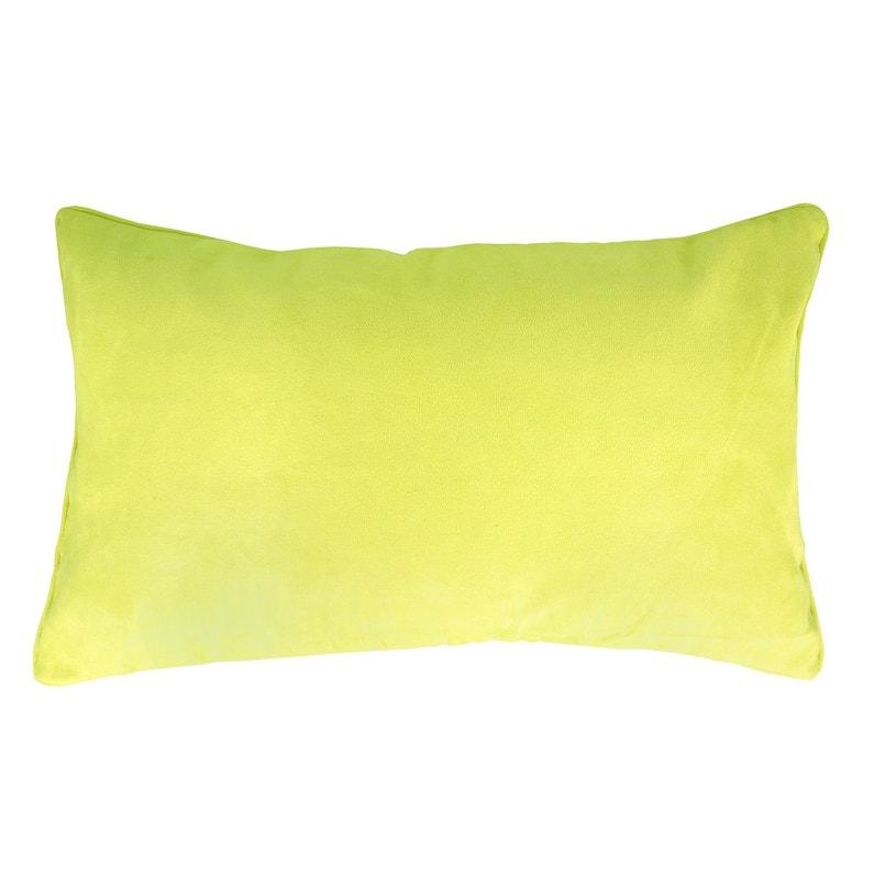 Housse de coussin Suédine, vert anis H.30 x l.50 cm