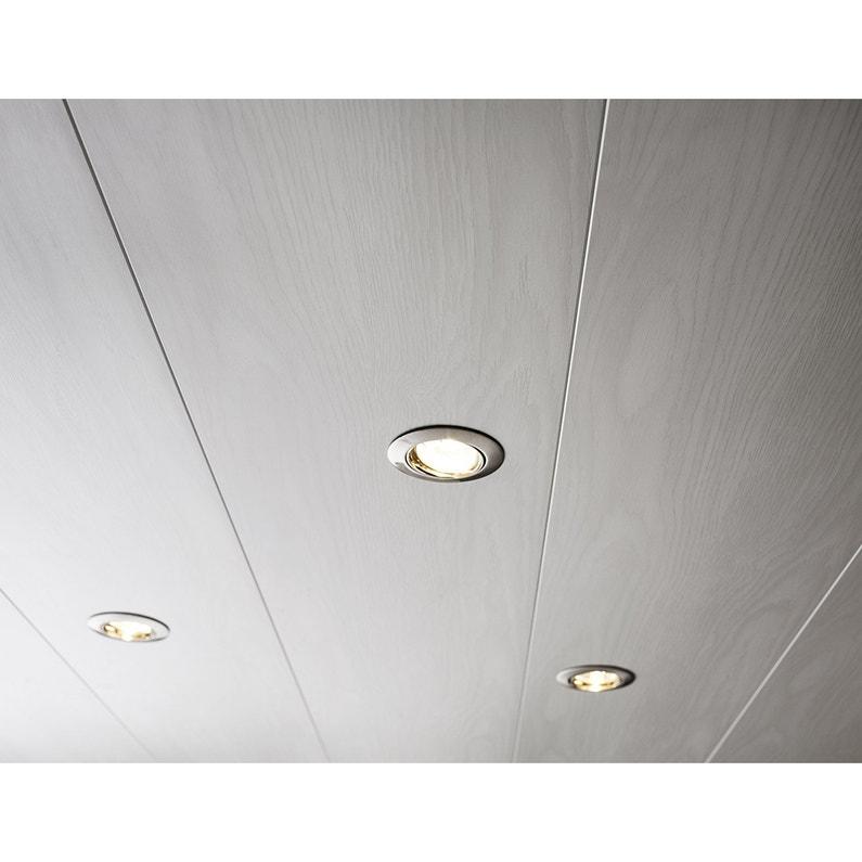 Lambris PVC décors frêne blanc ARTENS, L.400 x l.25 cm, Ep.10 mm