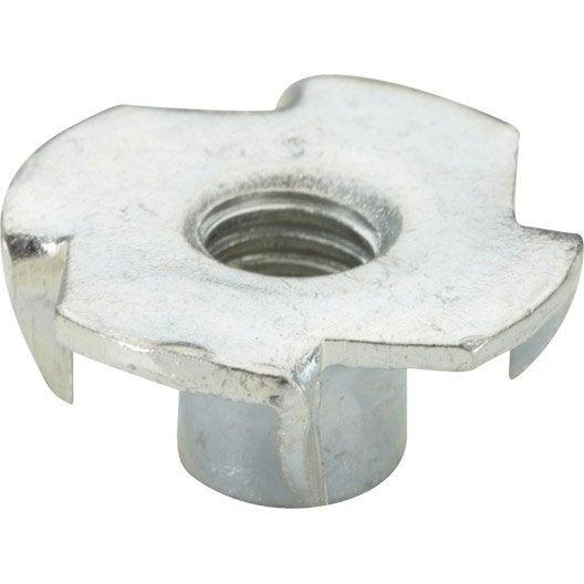 Lot de 8 écrous à enfoncer acier chromé HETTICH, l.19 mm