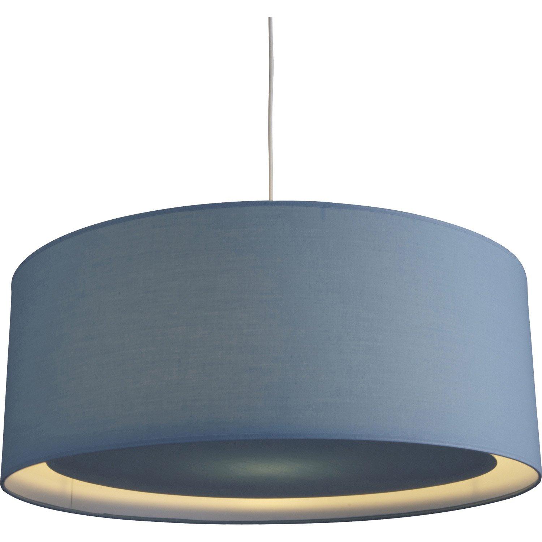 suspension e27 scandinave essentiel coton bleu baltique n 1 1 x 60 w inspire leroy merlin. Black Bedroom Furniture Sets. Home Design Ideas