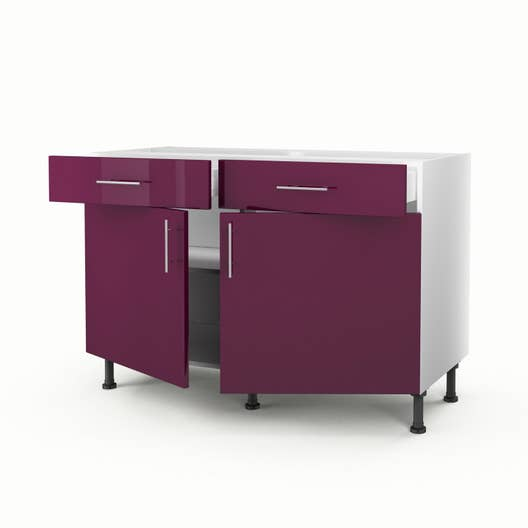 meuble de cuisine bas violet 2 portes 2 tiroirs rio x x cm leroy merlin. Black Bedroom Furniture Sets. Home Design Ideas