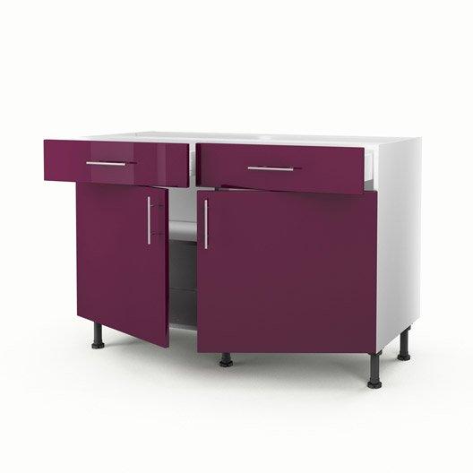 Meuble de cuisine bas violet 2 portes 2 tiroirs rio for Meuble cuisine 2 tiroirs
