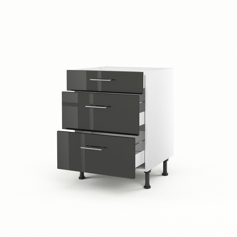 meuble de cuisine bas gris 3 tiroirs rio x x cm leroy merlin. Black Bedroom Furniture Sets. Home Design Ideas