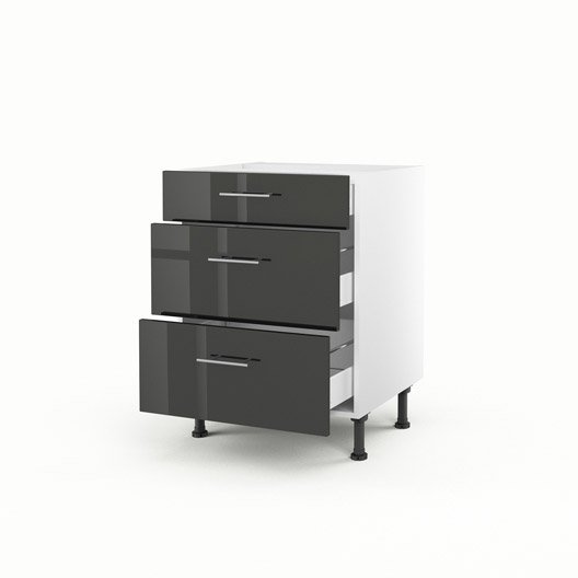 meuble de cuisine bas gris 3 tiroirs rio x x cm leroy merlin. Black Bedroom Furniture Sets. Home Design Ideas
