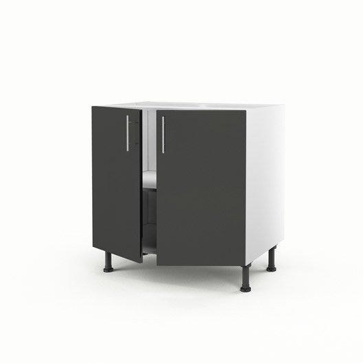 Meuble de cuisine bas gris 2 portes rio x x for Meuble cuisine hauteur 70 cm